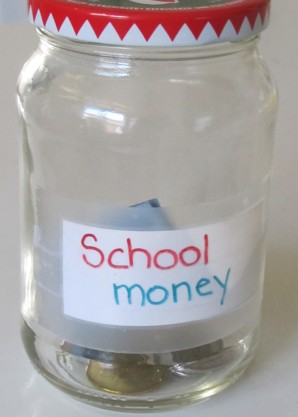 jar for coins and small bills
