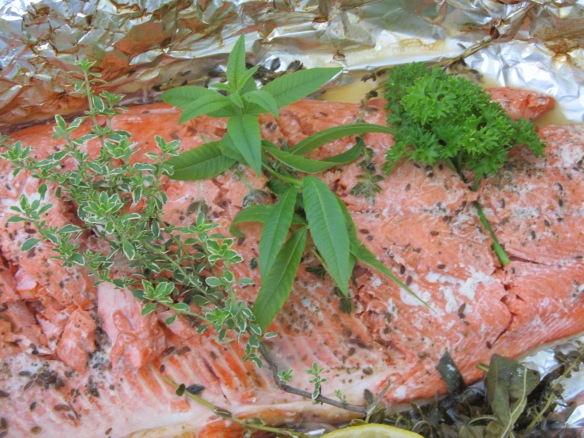 BBQ salmon with herbs